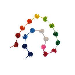 Rainbow festoon with pompons.