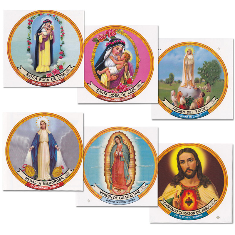 Round stickers with saint decorations, assorted