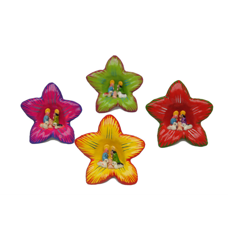 Kerststal in bloem-stokroos, mini