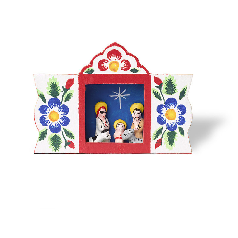 Nativity scene in window, deluxe
