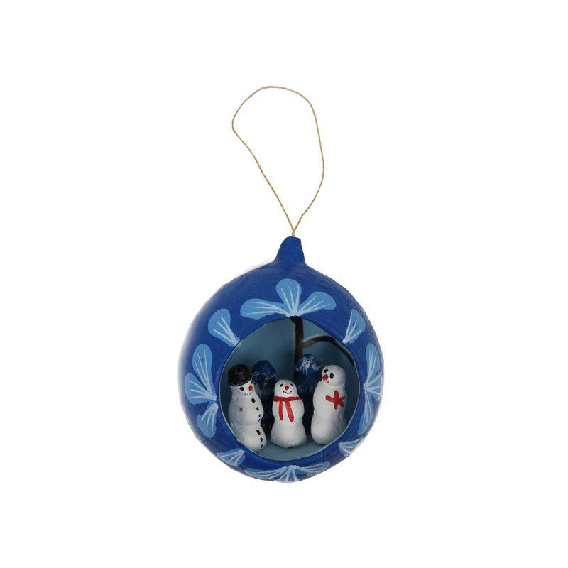 Winter's scene in earthenware Christmas ball, hanger