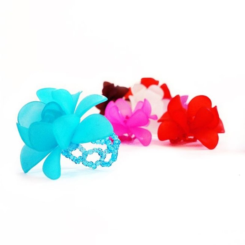 Ring with flower, one colour, assorted