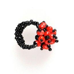 Bloemenring, zwart met oranje wayruro