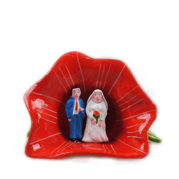 Bruidspaar in bloem, rood
