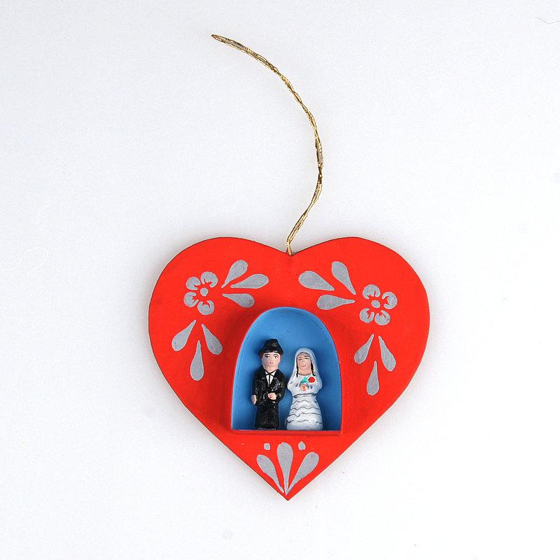 Hartje met bruidspaar, hanger
