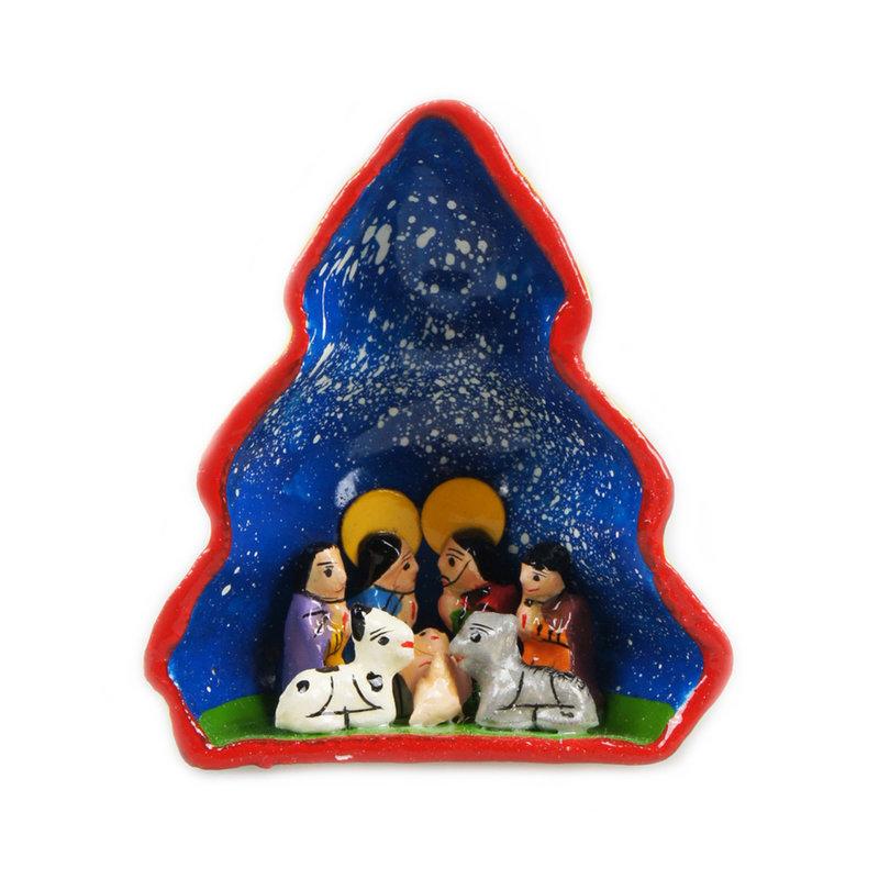 Nativity scene in christmas tree, 3D