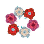 Hair slide with hand knitted flowers, large