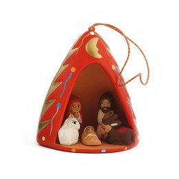 Kerststal in kerstboom, 3D, aardewerk