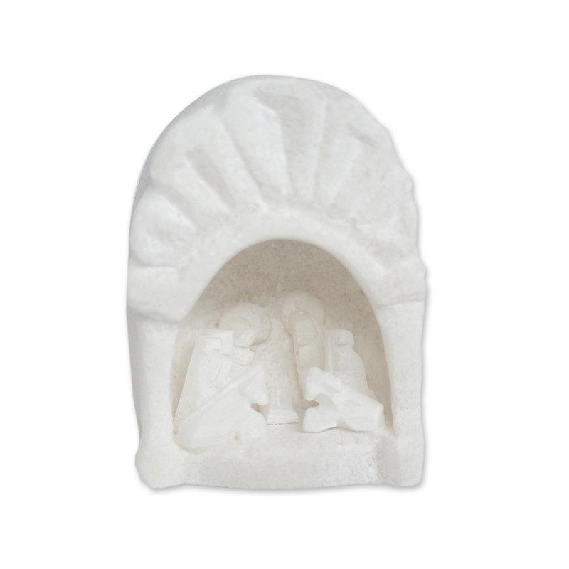 Nativity scene in soapstone arch, medium