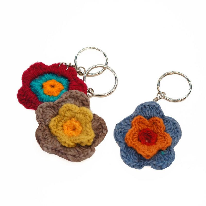 Key hanger with crocheted flower