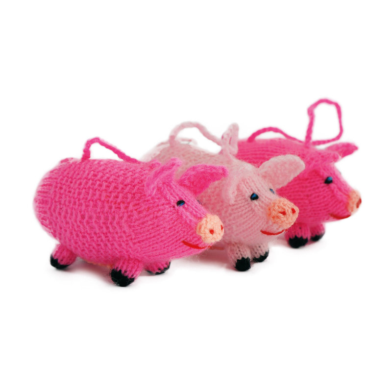 Hand knitted ball-puppet pig