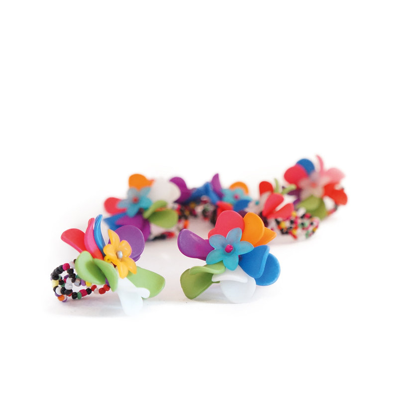 Flower ring, multi coloured, assorted