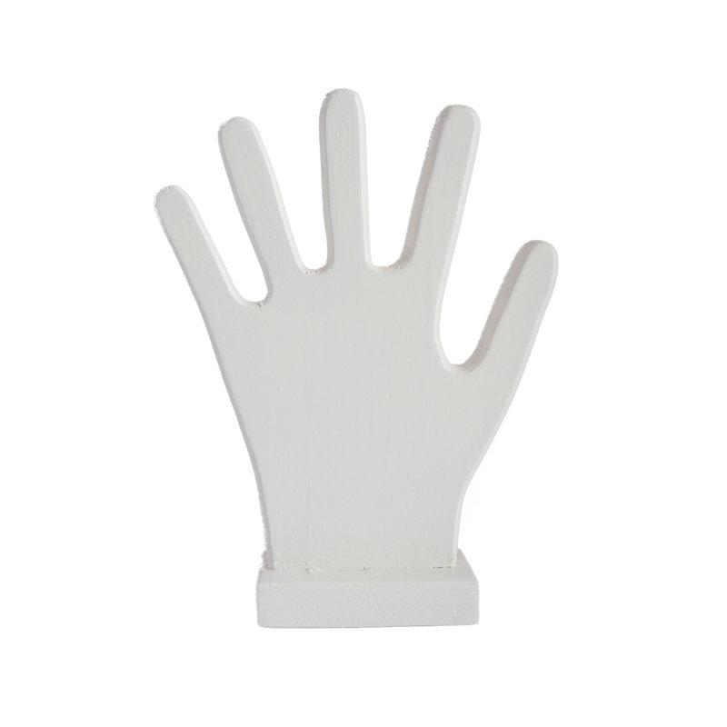 Witte houten hand