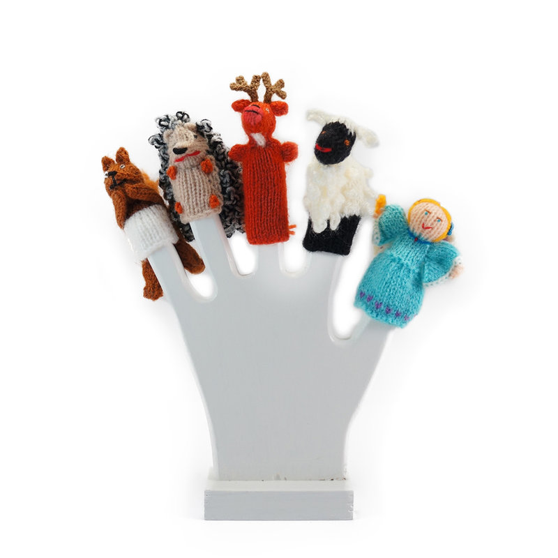 Wooden display hand for finger puppets, white