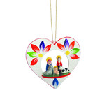 Nativity scene in wooden heart, hanger