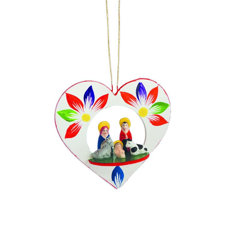 Kerststal in 3D-houten hart, hanger