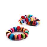 Rainbow bracelet with little velvet balls