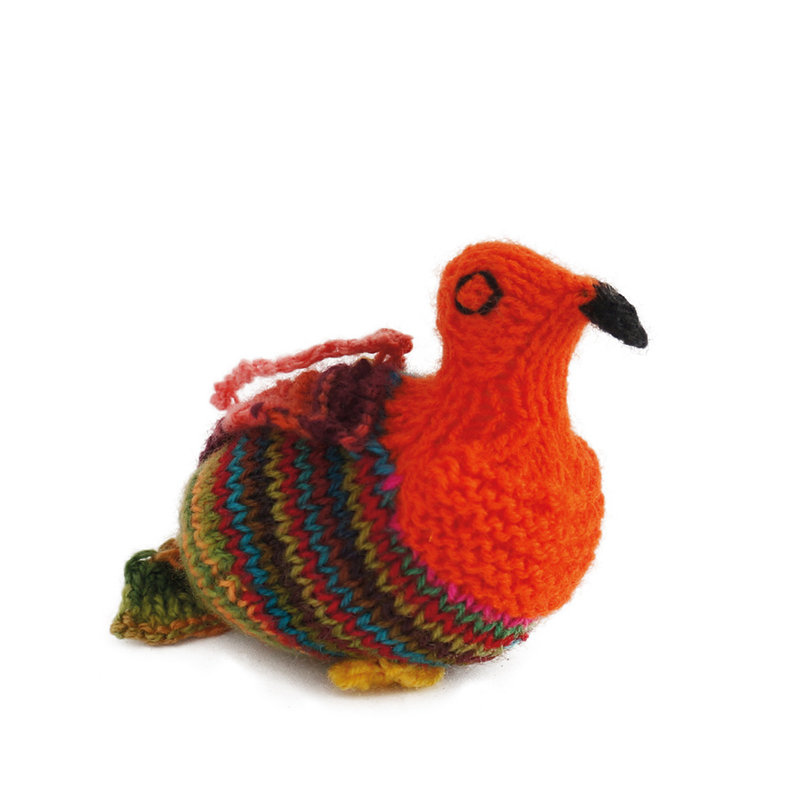 Hand knitted bird, coloured