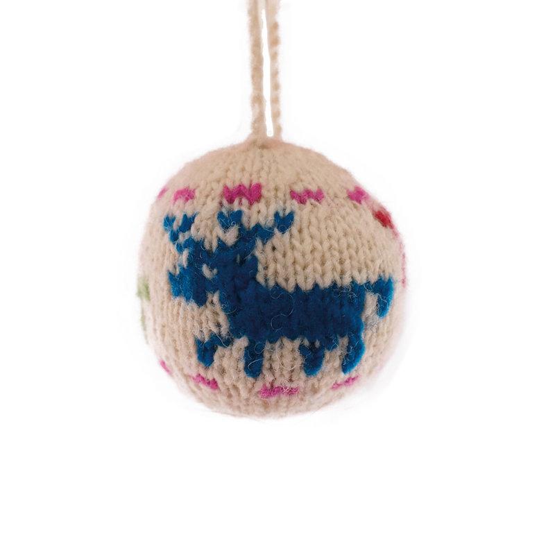 Kerstbal hertmotief gekleurd, 100% schapenwol