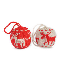 Christmas ball, knitted red/white