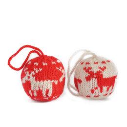 Kerstbal, gebreid rood/wit