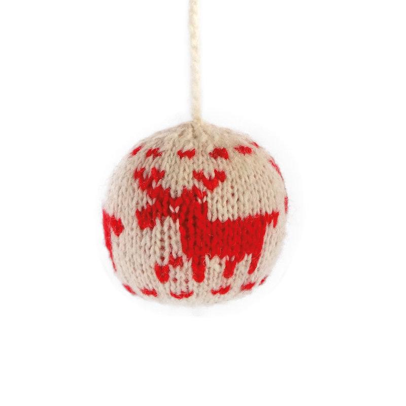 Christmas ball deer motif red/white,  100% sheep's wool,