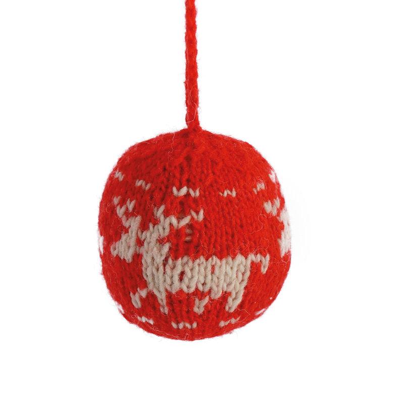 Kerstbal hertmotief rood/wit,  100% schapenwol