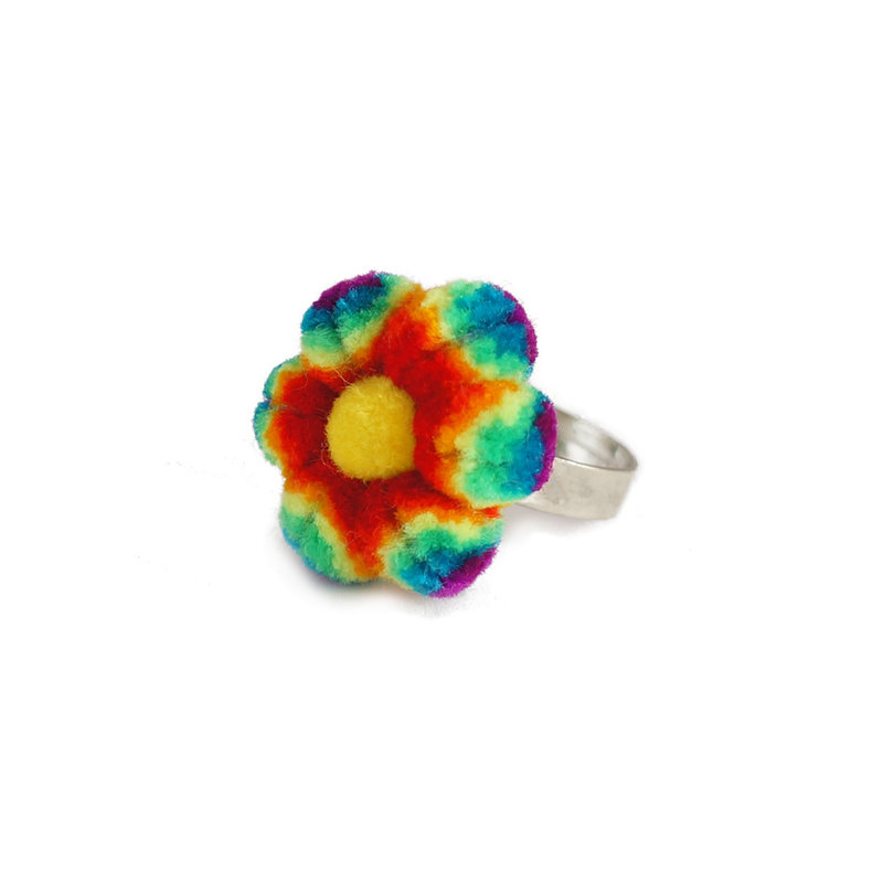 Rainbow ring with flower, adult