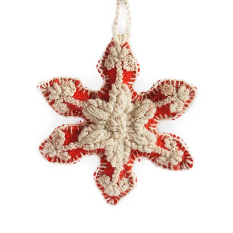 Christmas hanger snowflake, 100% sheep's wool