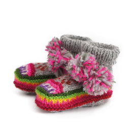 Pair of baby slippers, soft colours