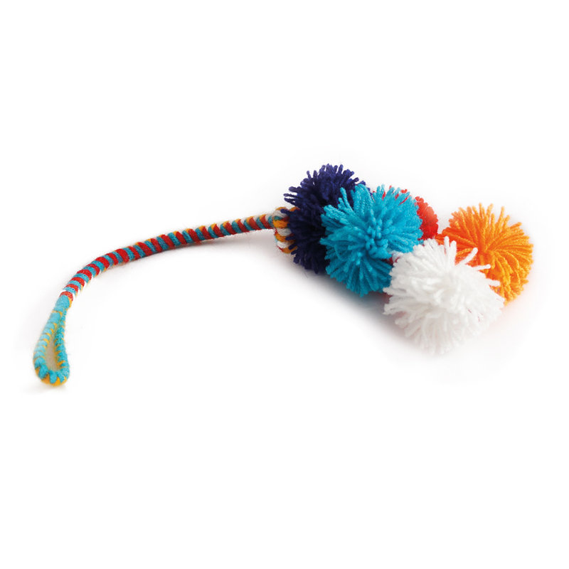 Brightly-coloured hanger with pom-poms