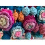 Crocheted bracelet flowers, 100% wool