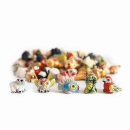Lucky animals, mini, earthenware, assorted