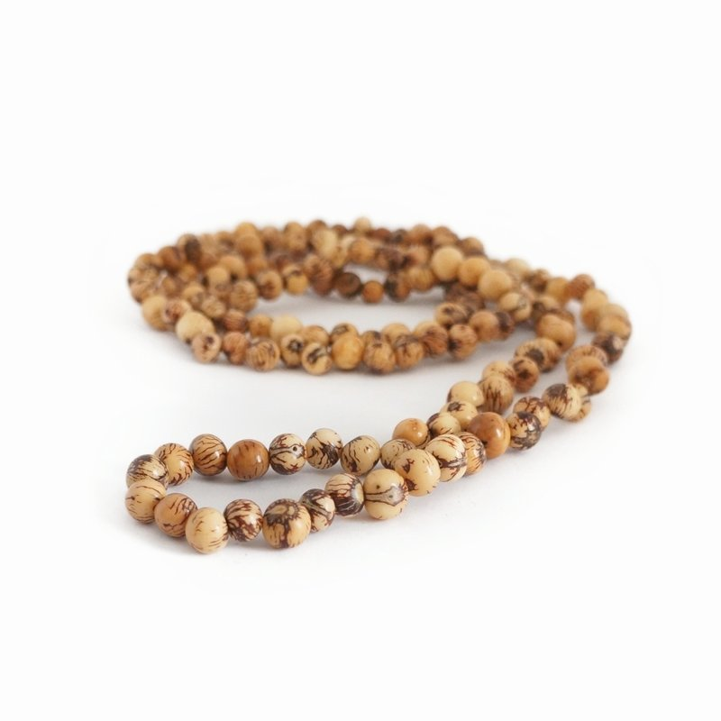 Necklace natural nuts (beige) double length