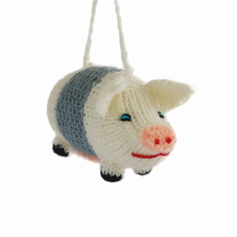 Hand knitted pig, cream-grey