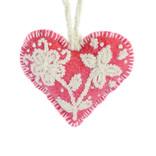 Hart decoratie, rood met creme, 100% wol