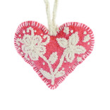 Heart decoration, red with cream, 100% sheep's wool