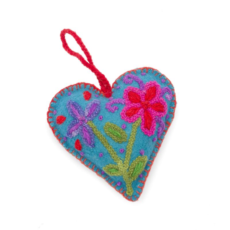 Heart decoration, multicolour, 100% sheep's wool