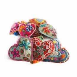 Heart decoration, multicolour, 100% sheep's wool