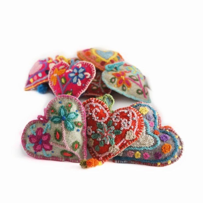 Hart decoratie, multicolour, 100% wol