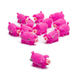 Brooch, knitted piglet, bright pink