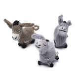Brooch, knitted donkey