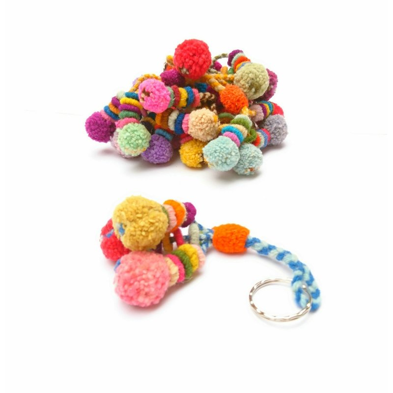 Keyhanger with pompons, wool