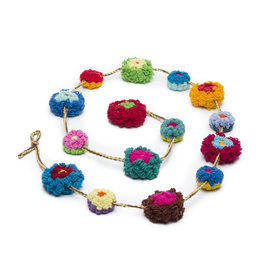 Festoon with flowers, wool