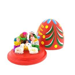 Nativity scene egg, lavish version under a dome