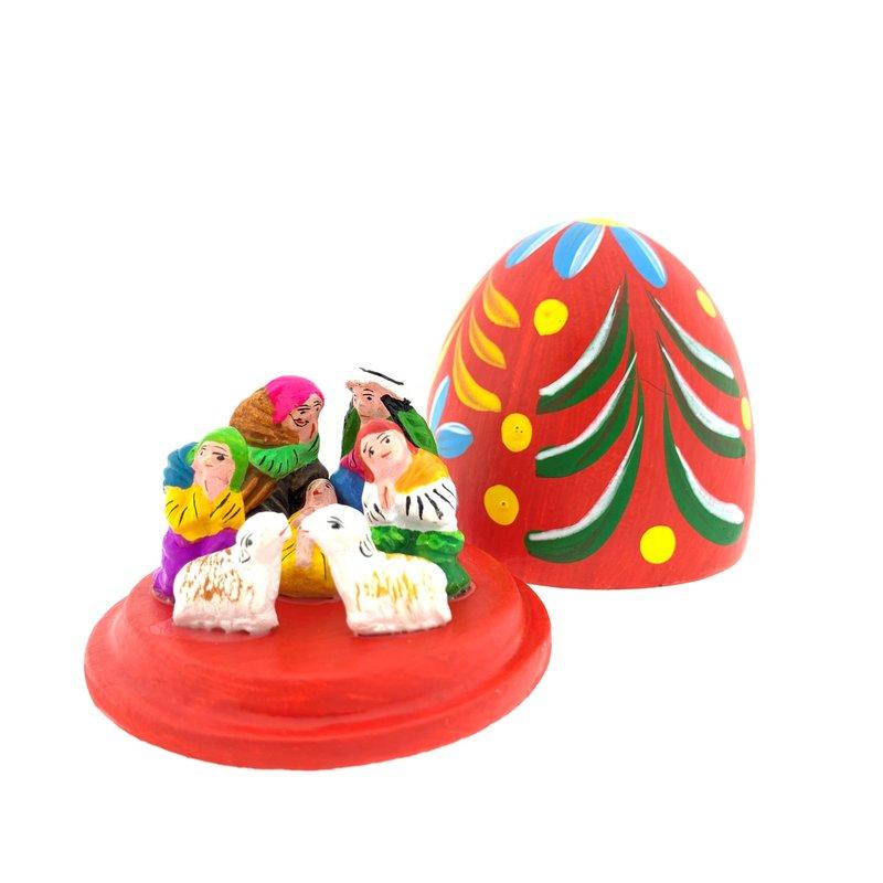Kerststal ei, uitbundige versie in stolp