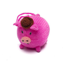 Hand knitted mister pig
