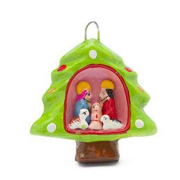 Mini-kerstboom van aardewerk, hanger