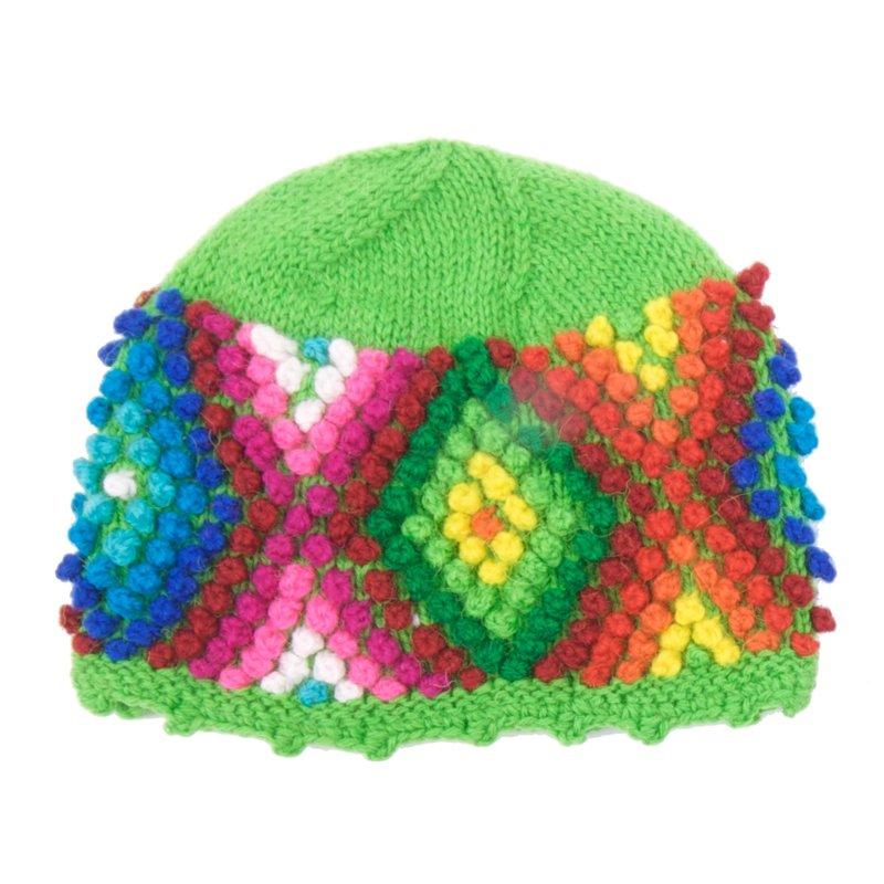 Children's hat, multicolour with little balls.