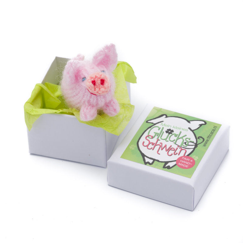 Knitted piglet, in box